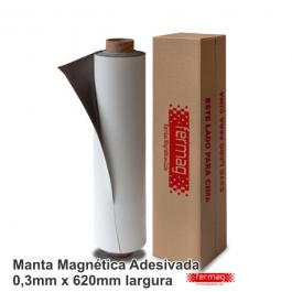 Manta Magnética 0,3mm Adesivada Largura 62cm