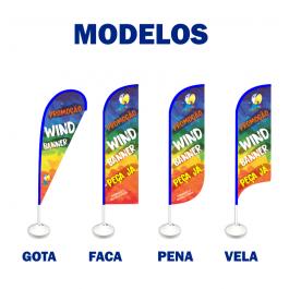 Wind Banner Tecido Oxford 65cm Largura 4x4  Base Preta
